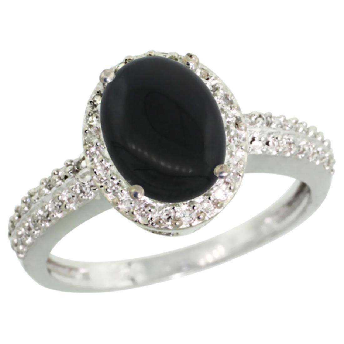 Natural 1.95 ctw Onyx & Diamond Engagement Ring 10K