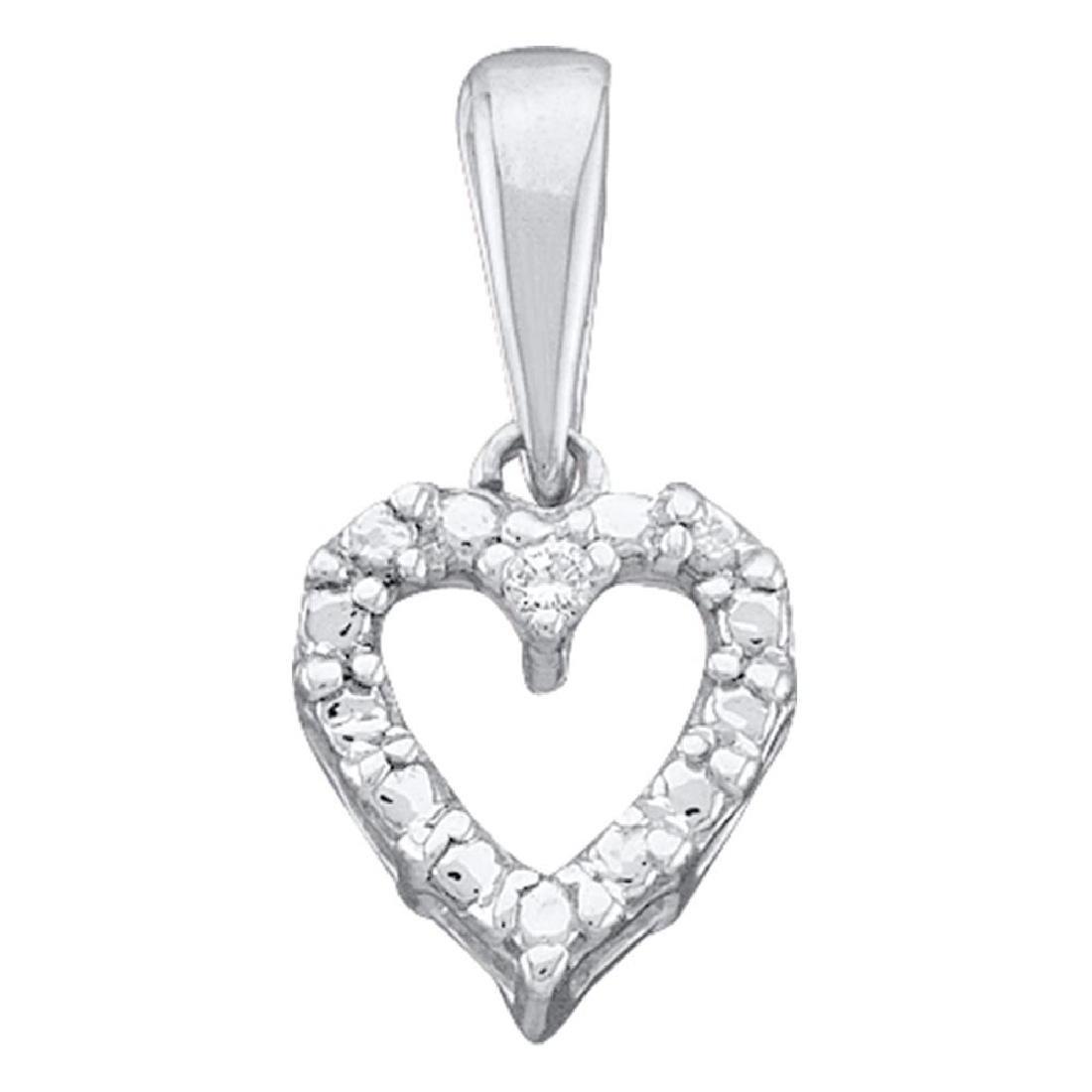 0.01 CTW Diamond Heart Love Pendant 14KT White Gold -