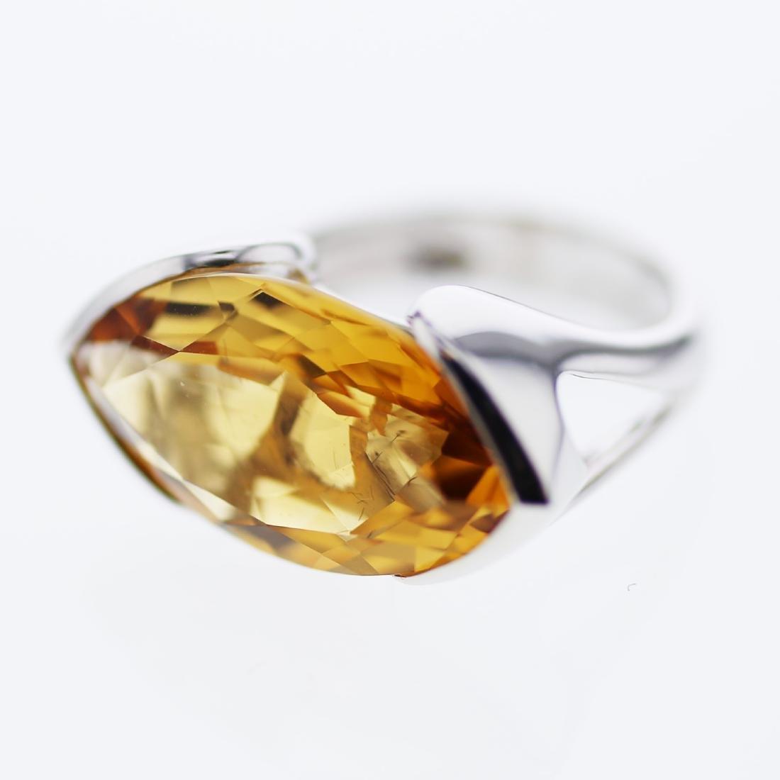 10.57 CTW Citrine Ring 14K White Gold - REF-42X4Y