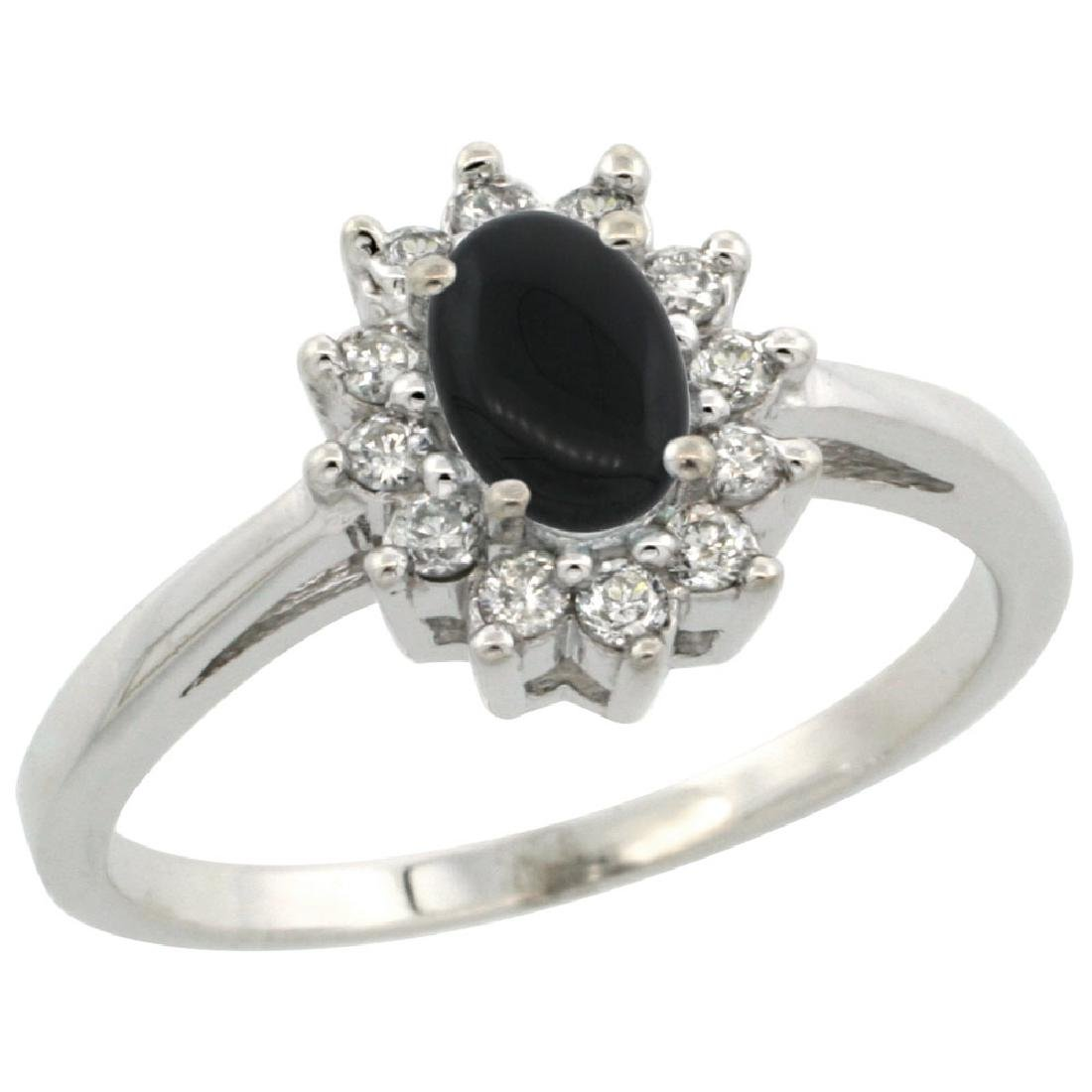 Natural 0.67 ctw Onyx & Diamond Engagement Ring 10K