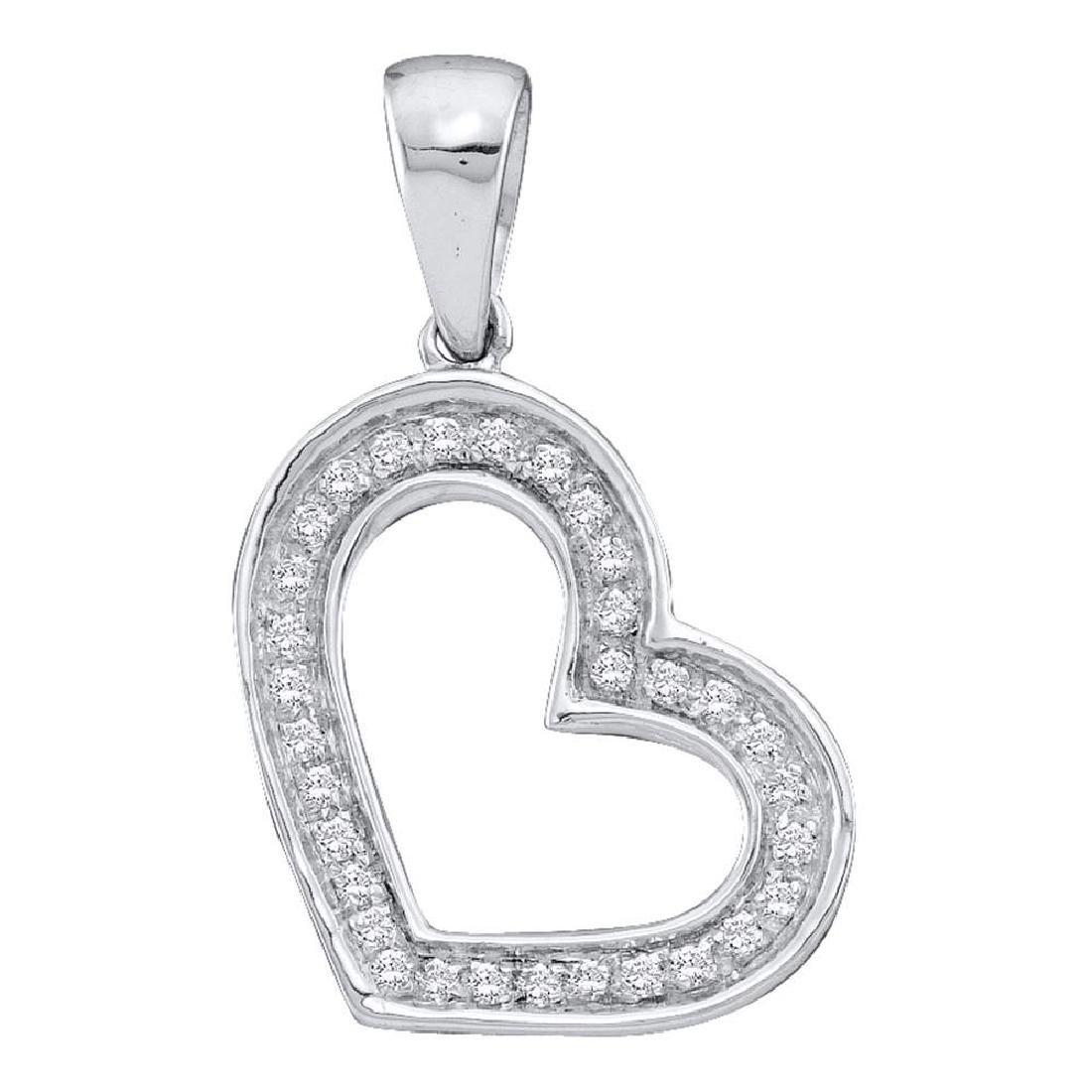 0.10 CTW Diamond Heart Love Pendant 14KT White Gold -