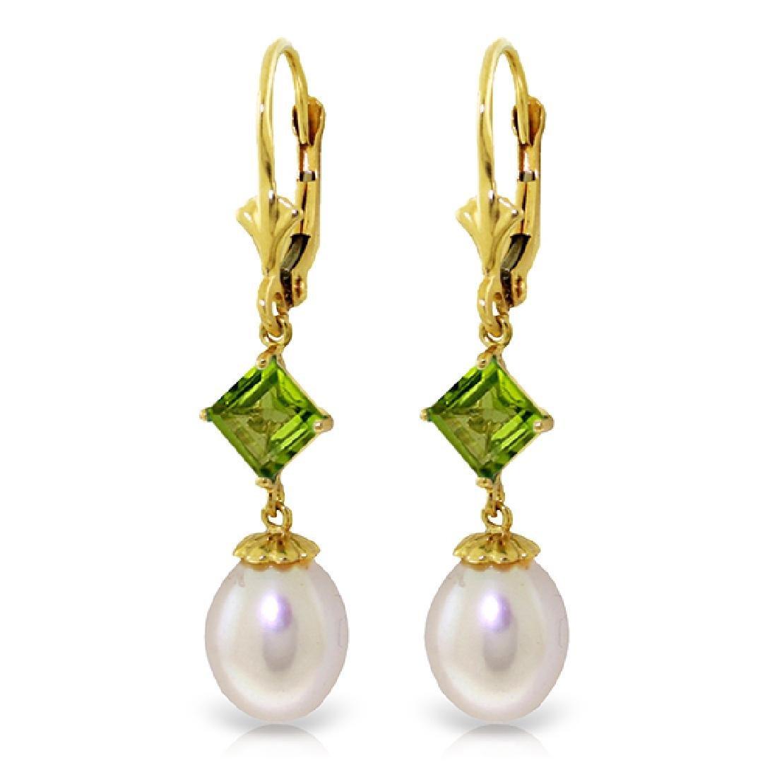 Genuine 9.5 ctw Pearl & Peridot Earrings Jewelry 14KT
