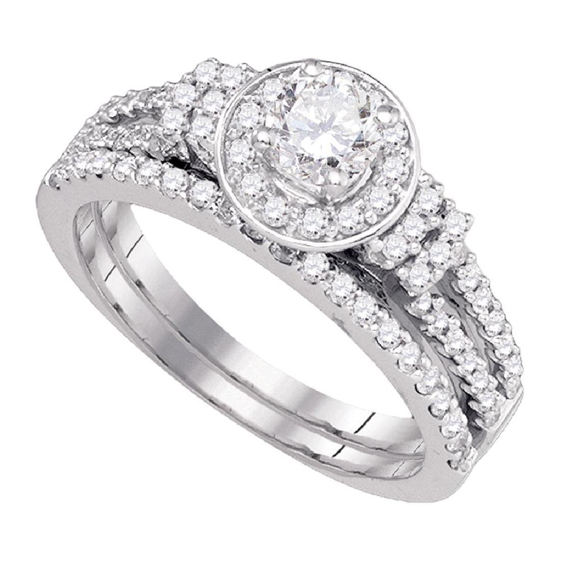 1 CTW Diamond Halo Bridal Engagement Ring 14KT White
