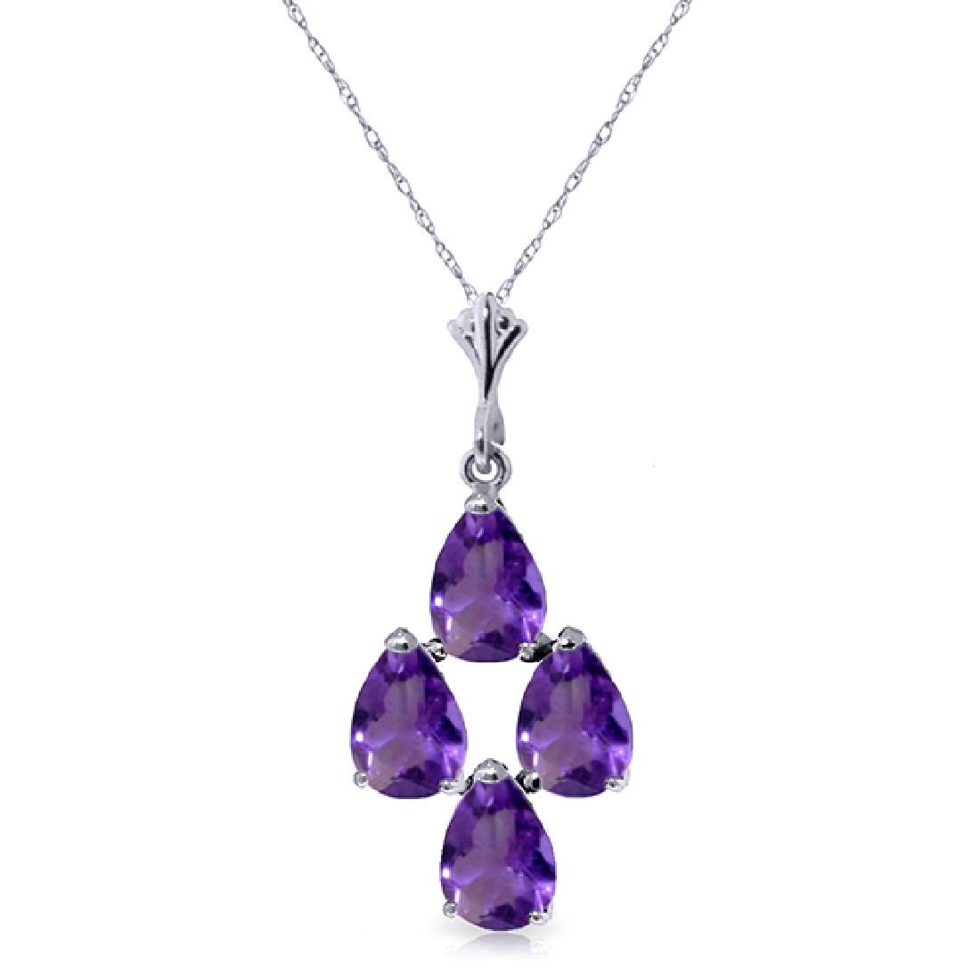 Genuine 1.50 ctw Amethyst Necklace Jewelry 14KT White