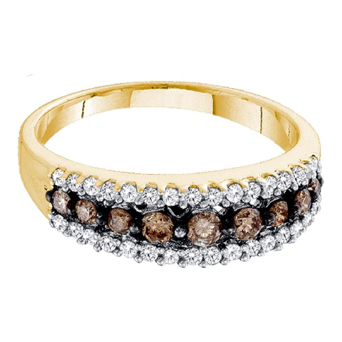0.50 CTW Cognac-brown Color Diamond Ring 10KT Yellow