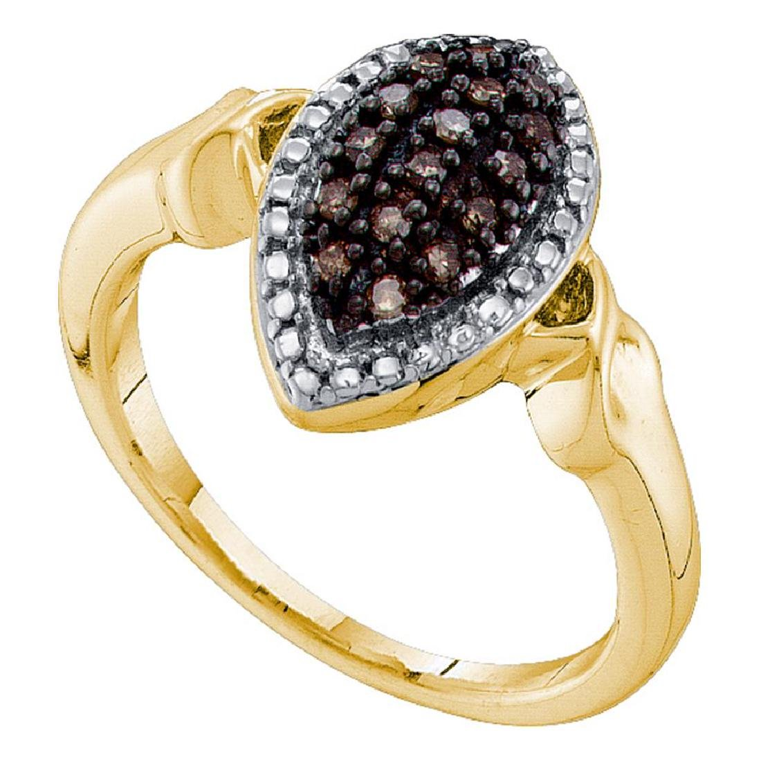 0.22 CTW Cognac-brown Color Diamond Oval Cluster Ring