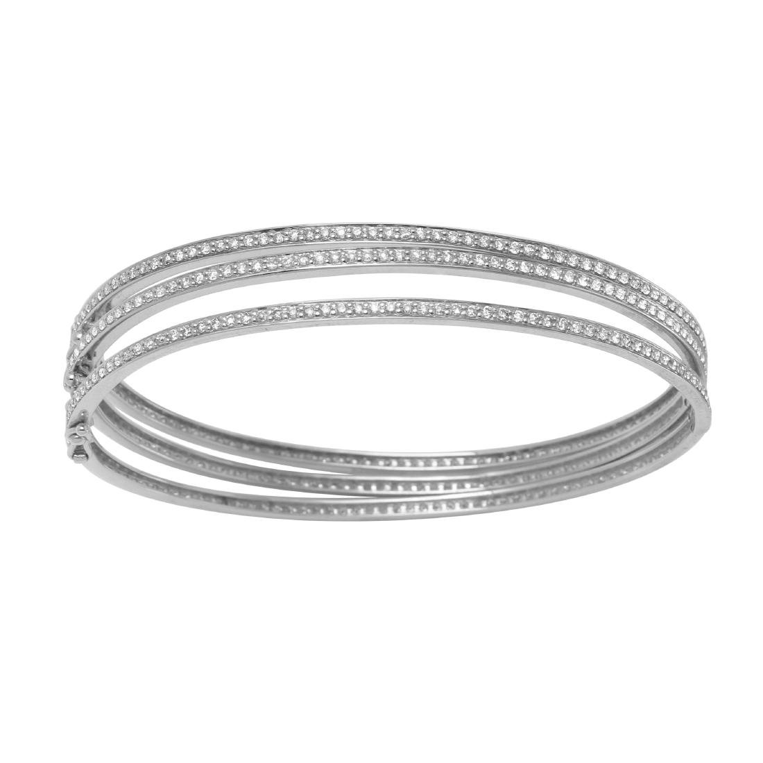 0.98 CTW Diamond Bangle Bracelet 14K White Gold -