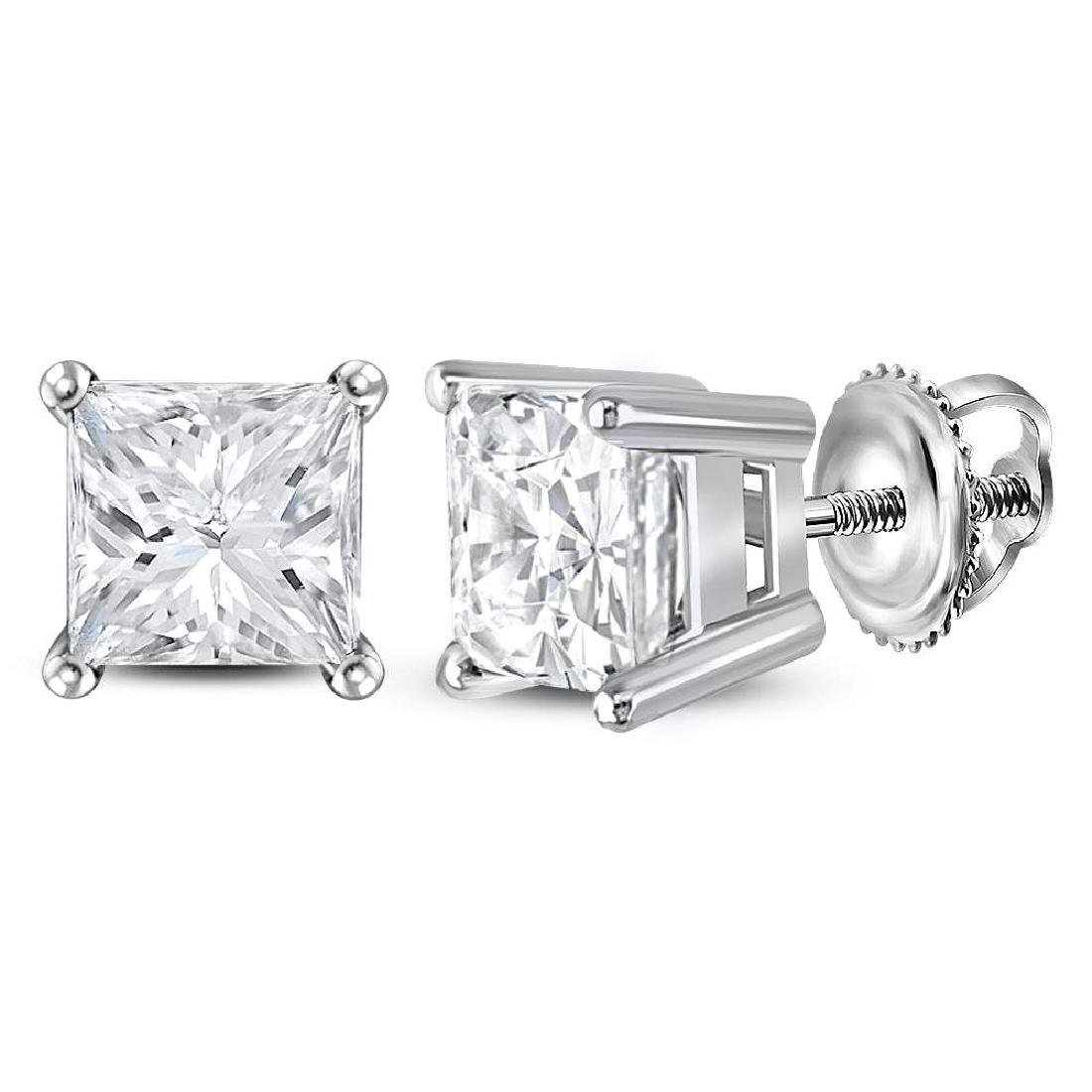 1.46 CTW Princess Diamond Solitaire Stud Earrings 14KT