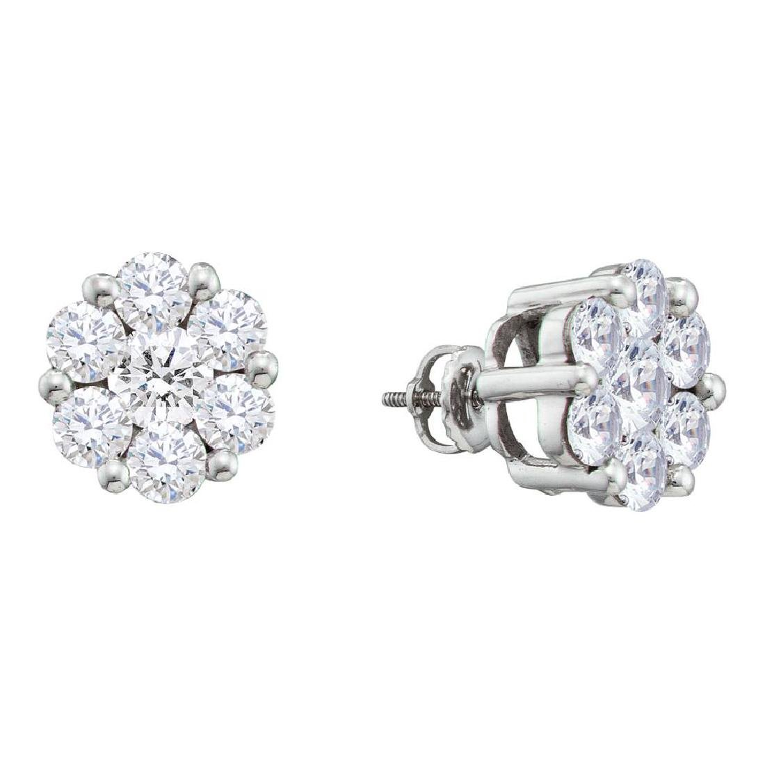 1.5 CTW Diamond Large Flower Cluster Stud Earrings 14KT