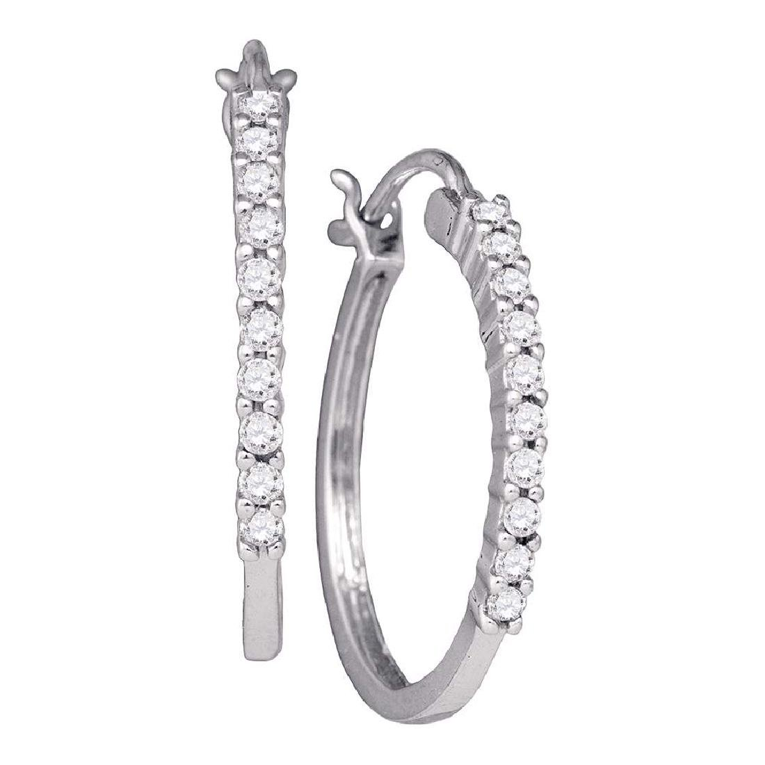 0.24 CTW Diamond Snap-down Hoop Earrings 14KT White
