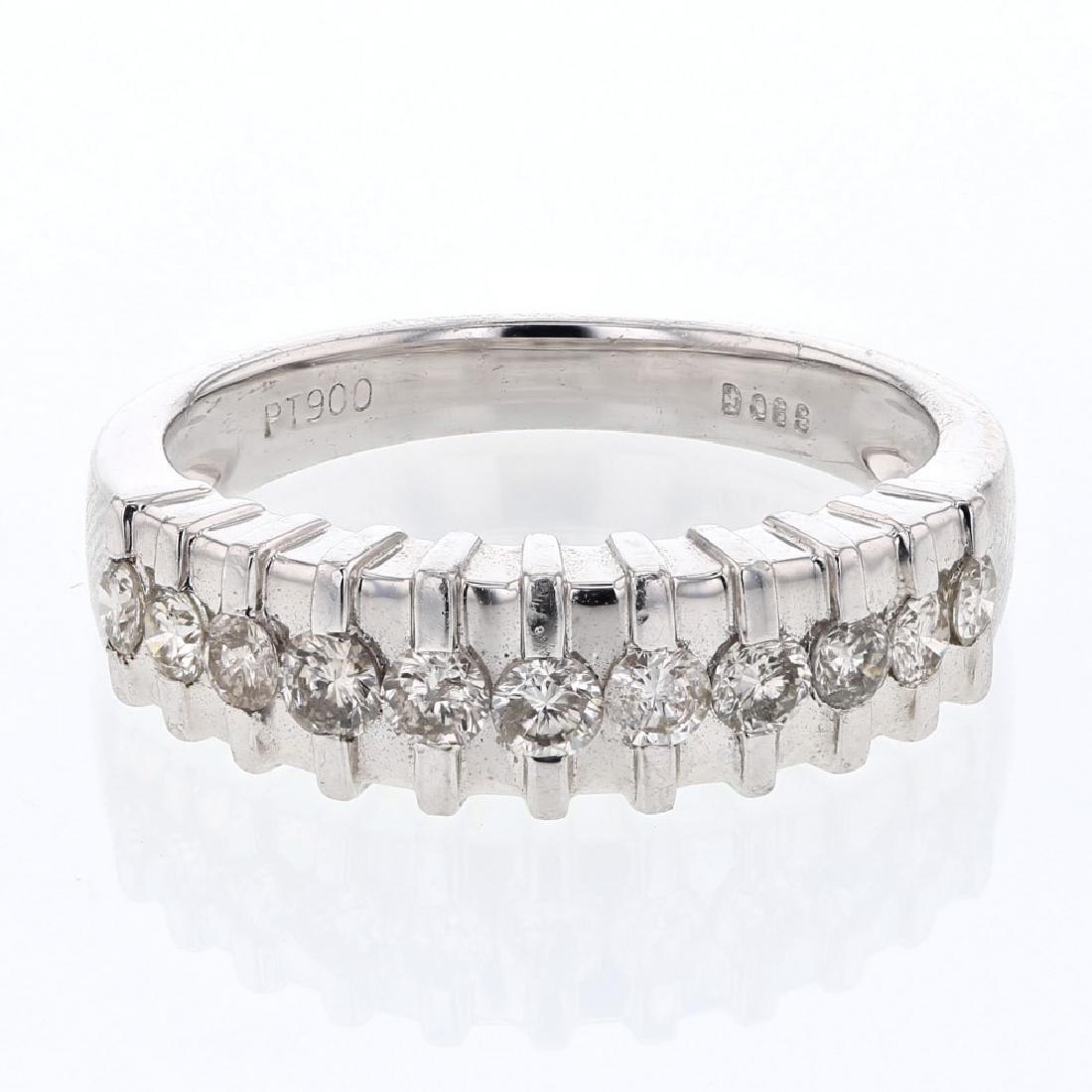 0.59 CTW Diamond & Wedding Band Ring Platinum -