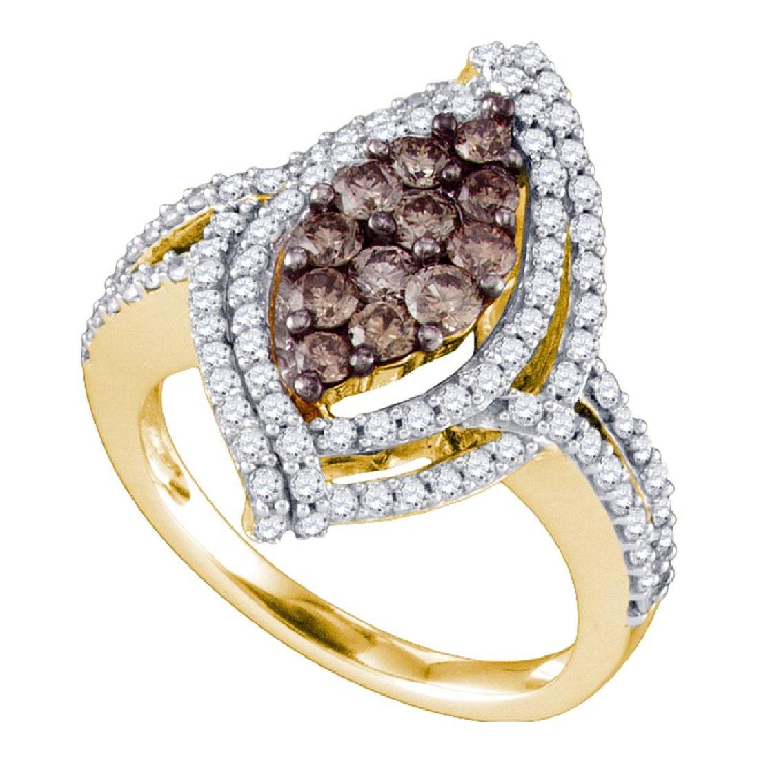 1.55 CTW Cognac-brown Color Diamond Wide Cluster Ring