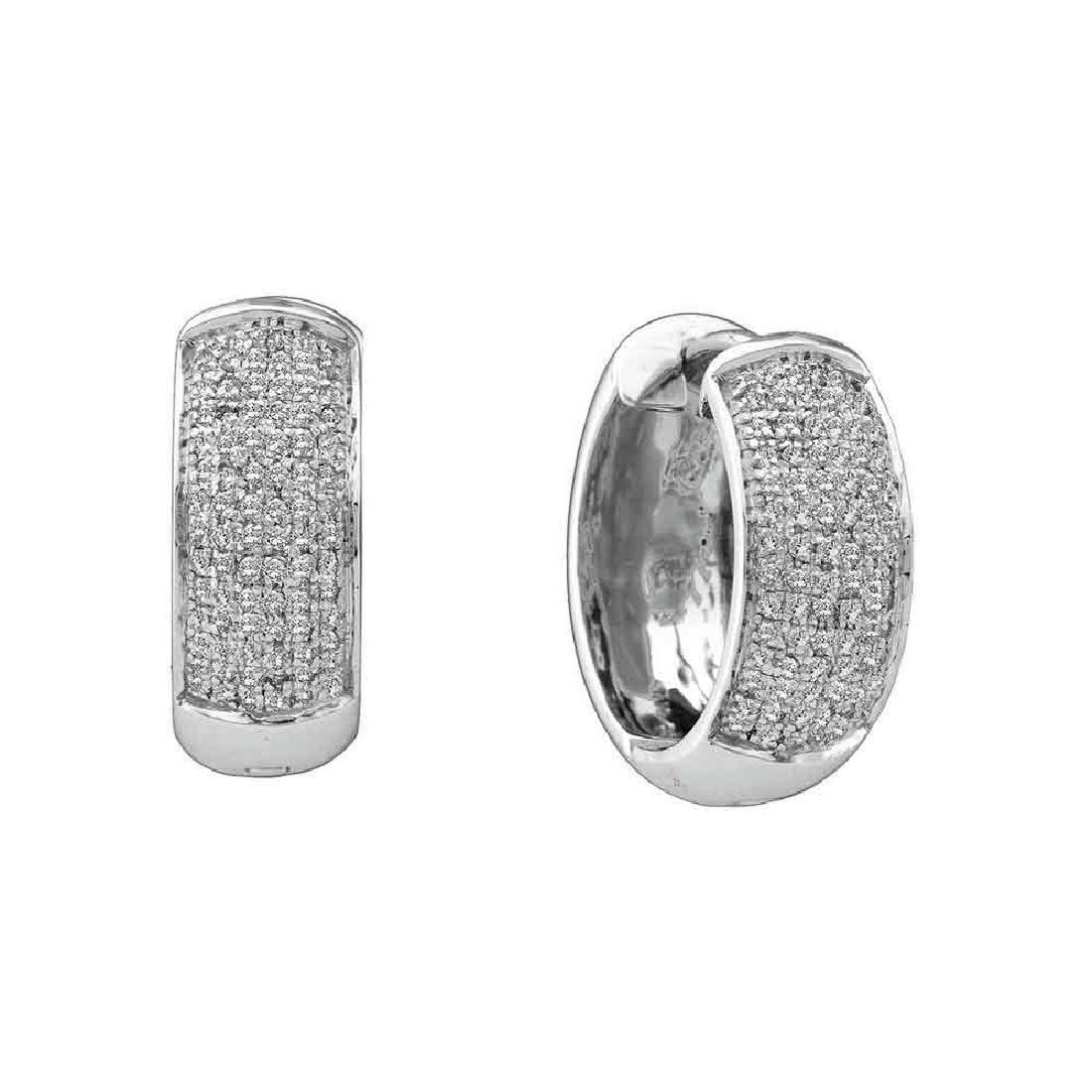 0.50 CTW Pave-set Diamond Huggie Hoop Earrings 10KT