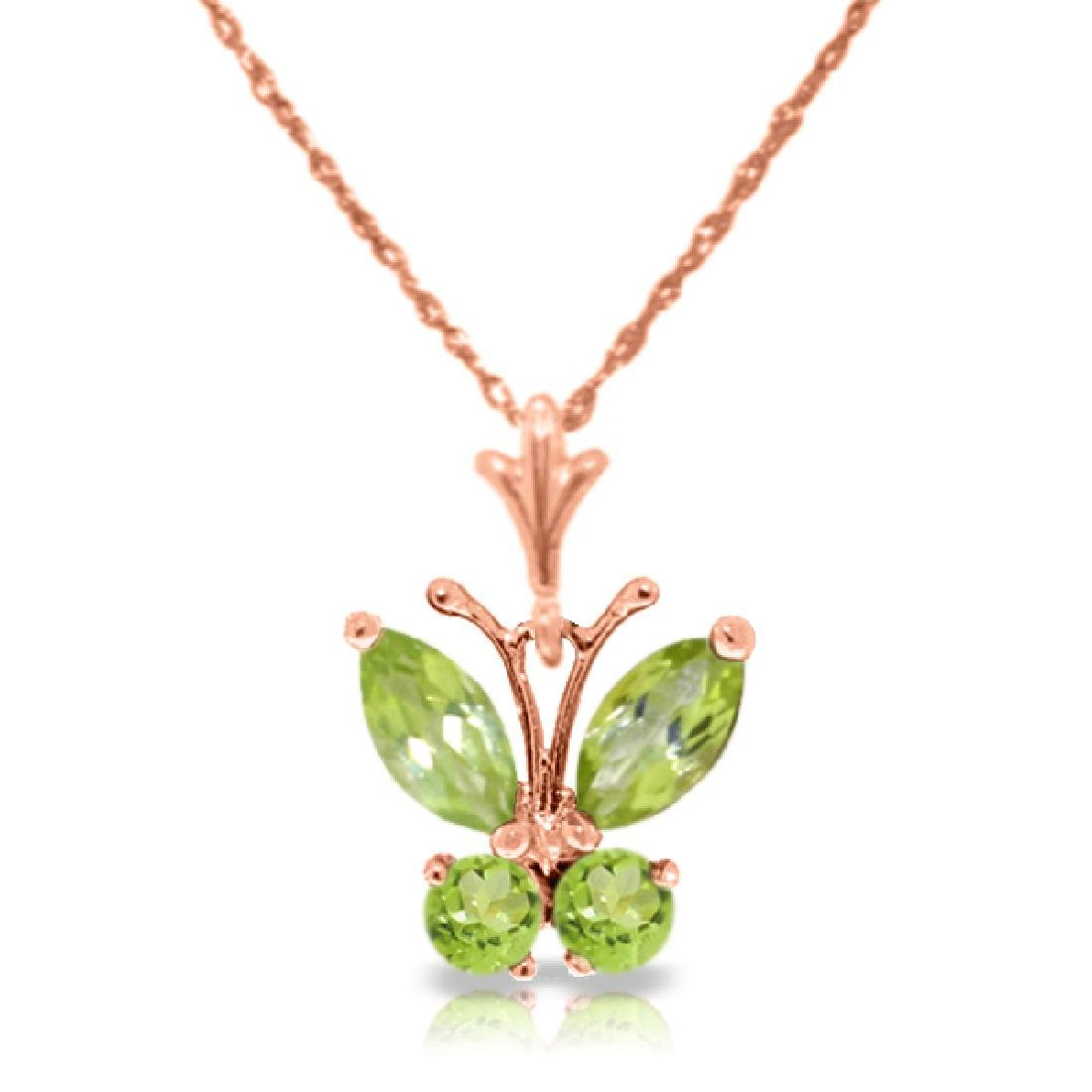 Genuine 0.60 ctw Peridot Necklace Jewelry 14KT Rose