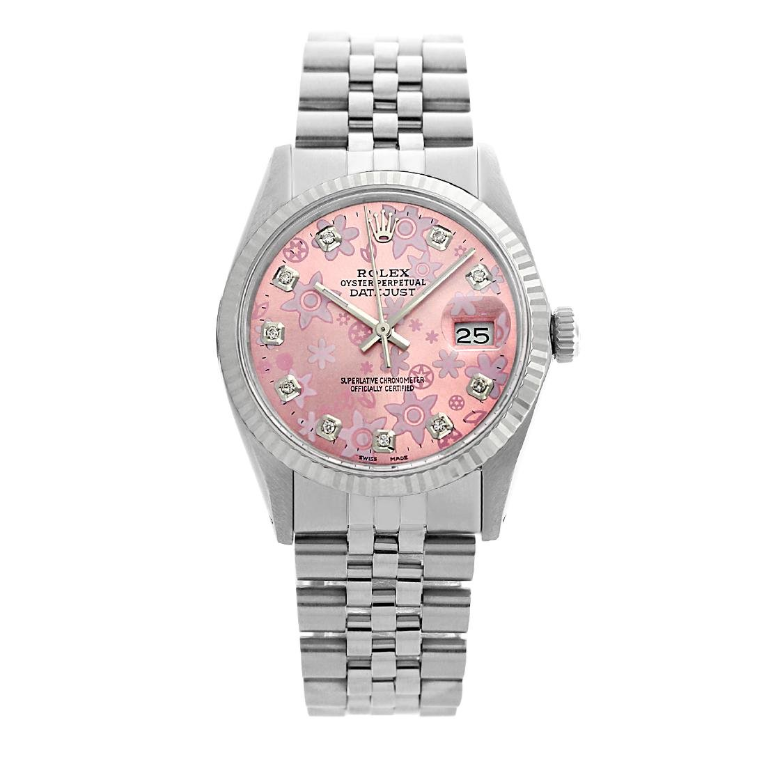 Rolex Pre-owned 36mm Mens Pink Flower Dial Stainless