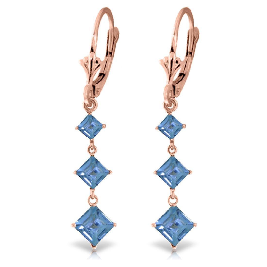 Genuine 4.79 ctw Blue Topaz Earrings Jewelry 14KT Rose