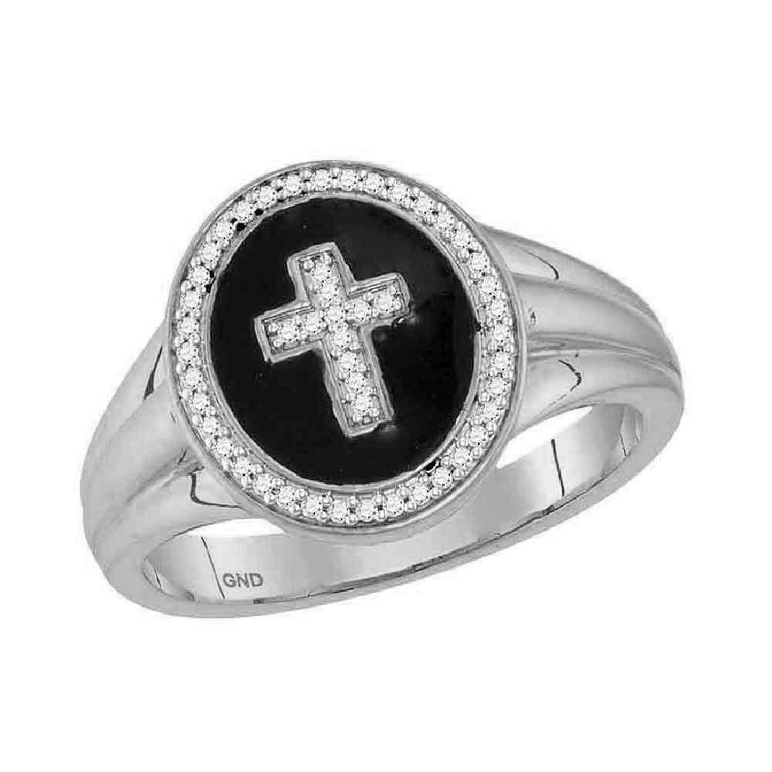 0.15 CTW Mens Diamond Cross Crucifix Fashion Ring 10KT