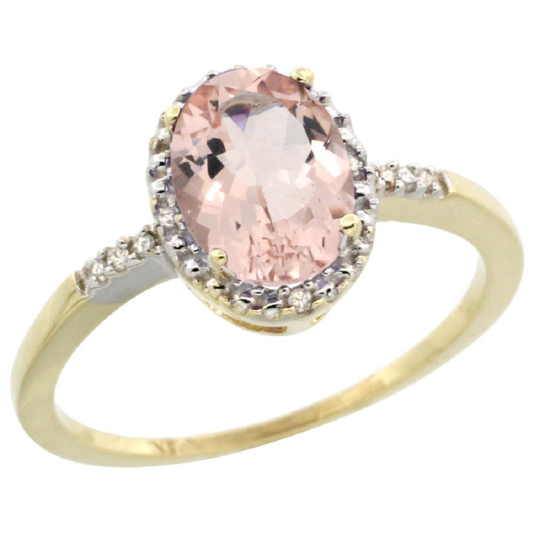 Natural 1.2 ctw Morganite & Diamond Engagement Ring 10K