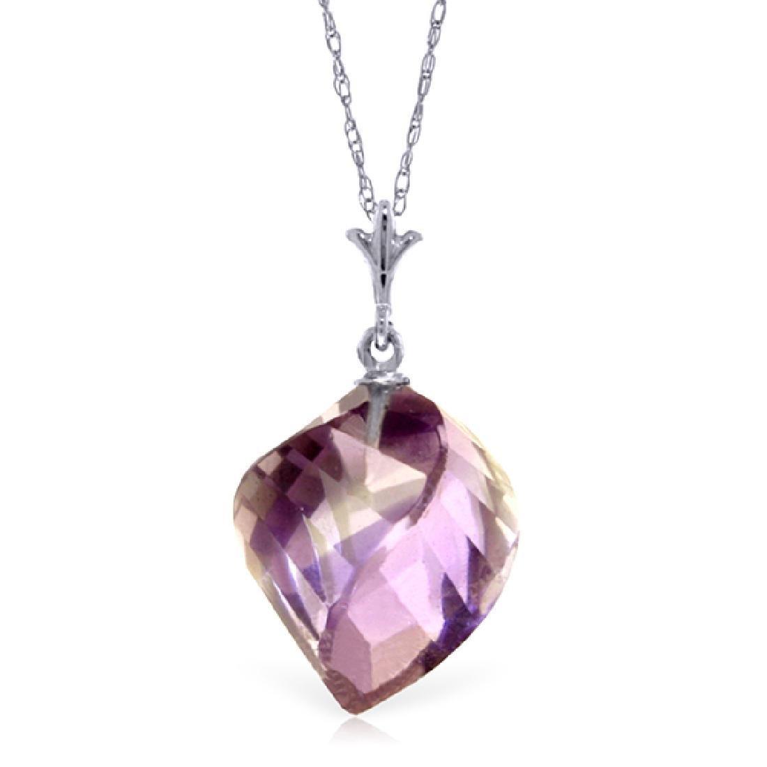 Genuine 10.75 ctw Amethyst Necklace Jewelry 14KT White