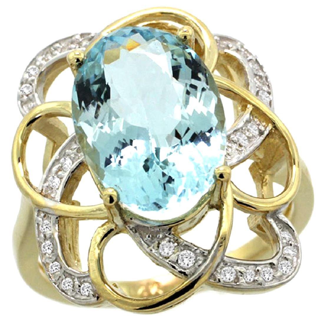 Natural 5.59 ctw aquamarine & Diamond Engagement Ring