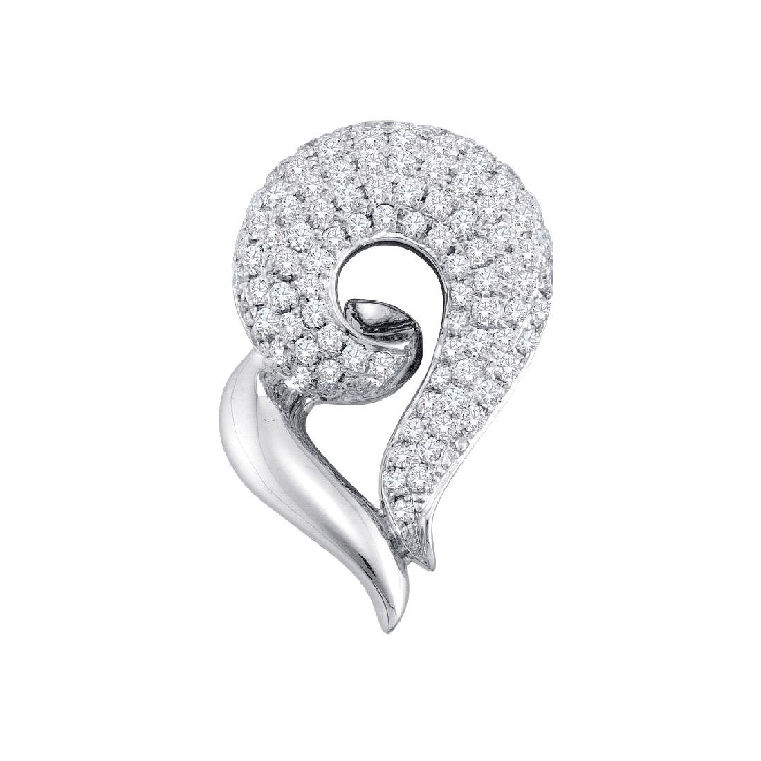 0.75 CTW Pave-set Diamond Curled Heart Pendant 14KT