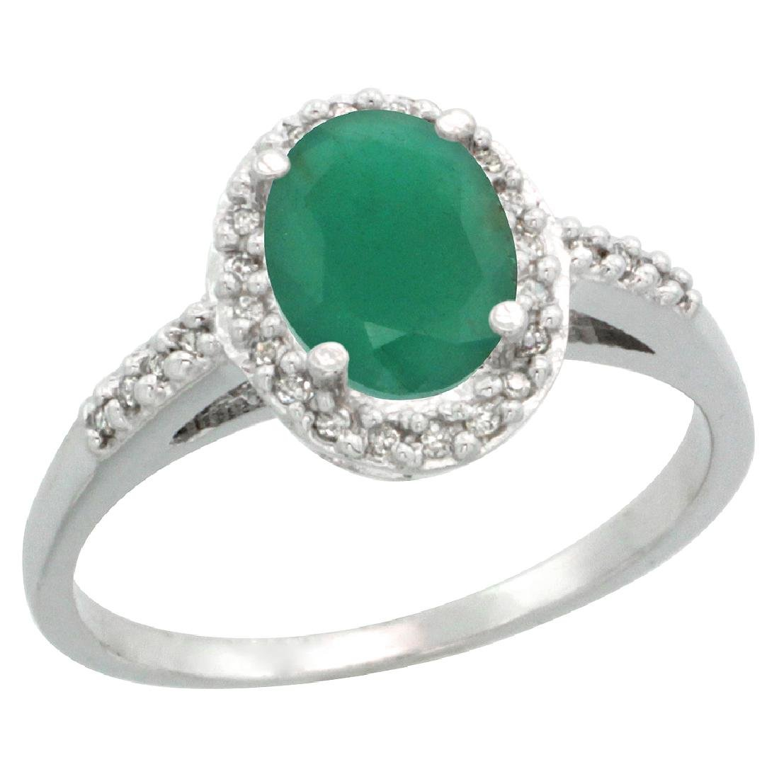 Natural 1.6 ctw Emerald & Diamond Engagement Ring 14K