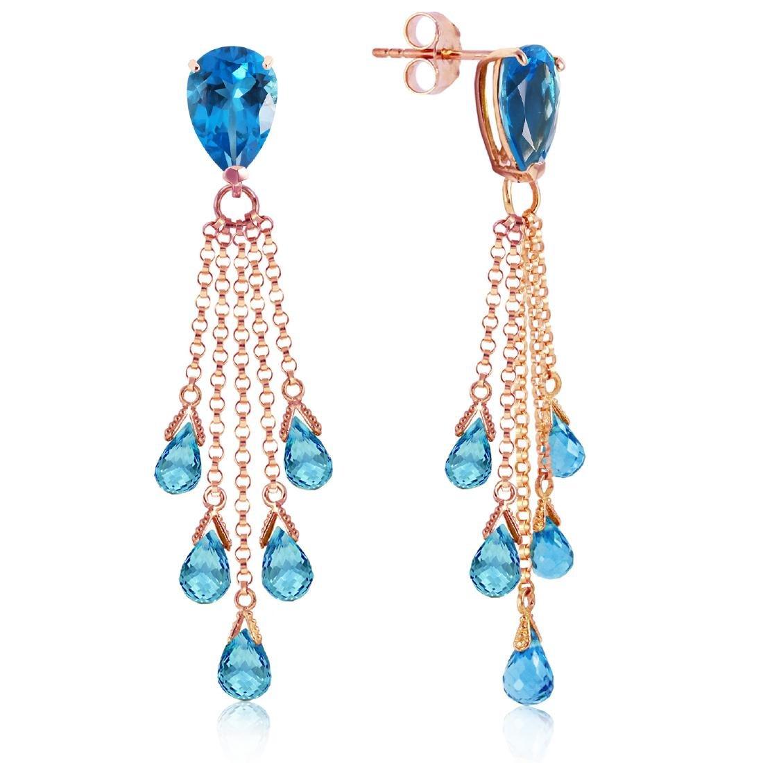 Genuine 15.5 ctw Blue Topaz Earrings Jewelry 14KT Rose