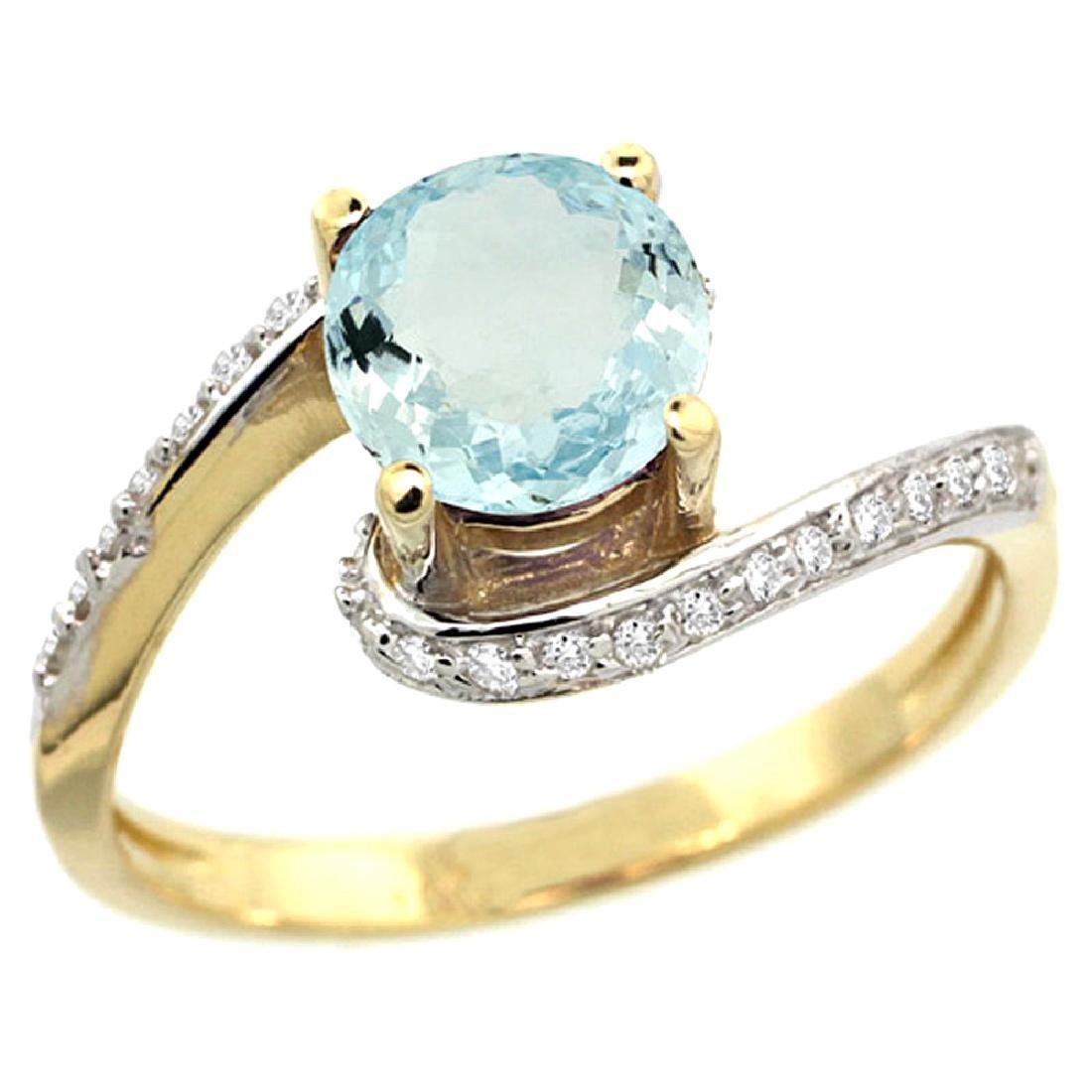 Natural 0.99 ctw aquamarine & Diamond Engagement Ring