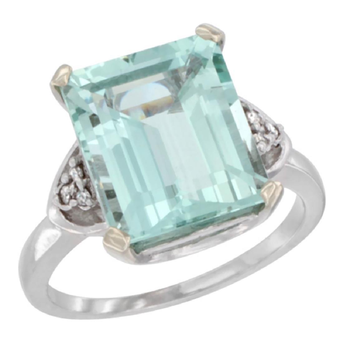 Natural 5.44 ctw aquamarine & Diamond Engagement Ring