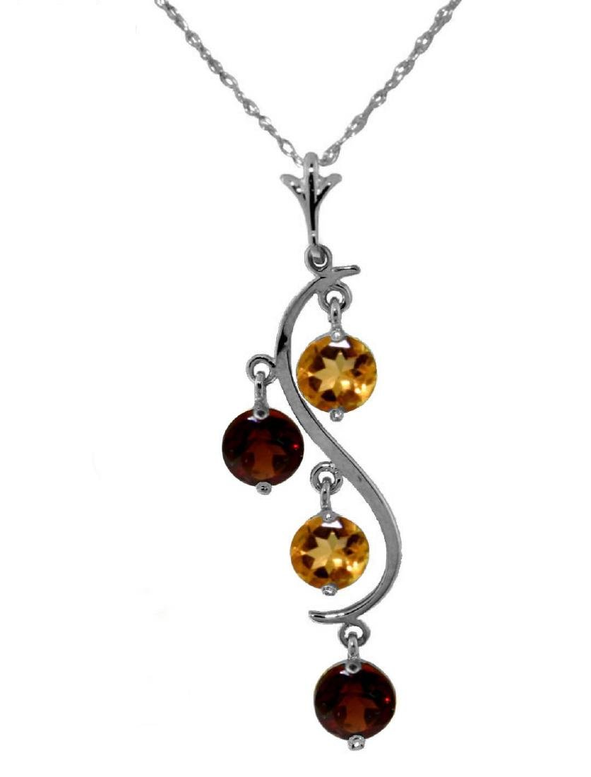 Genuine 2.3 ctw Citrine & Garnet Necklace Jewelry 14KT