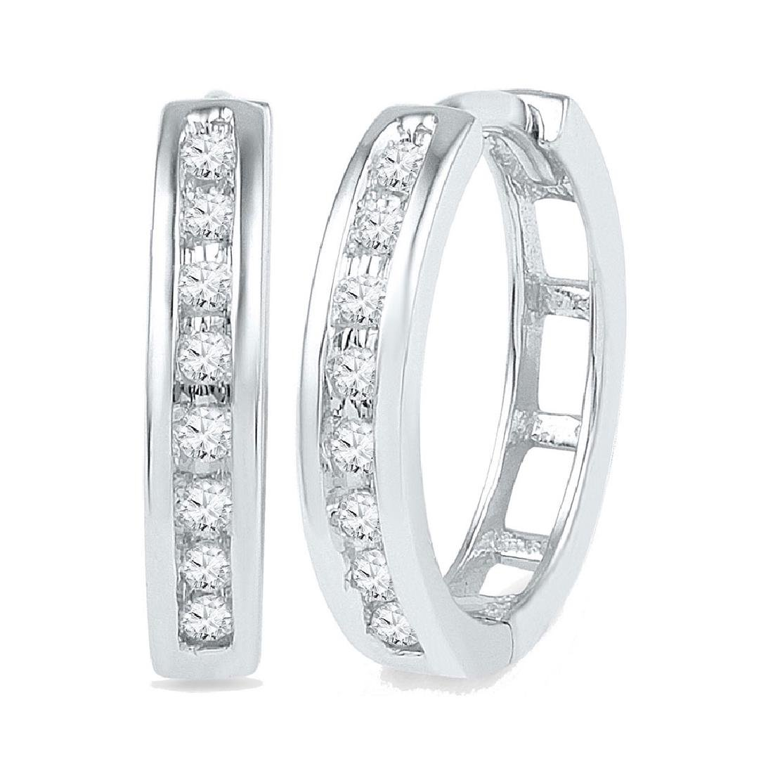 0.20 CTW Diamond Hoop Earrings 10KT White Gold -