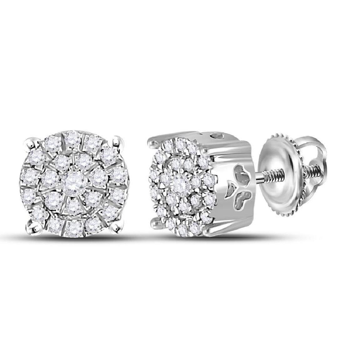 0.18 CTW Diamond Cluster Earrings 10KT White Gold -