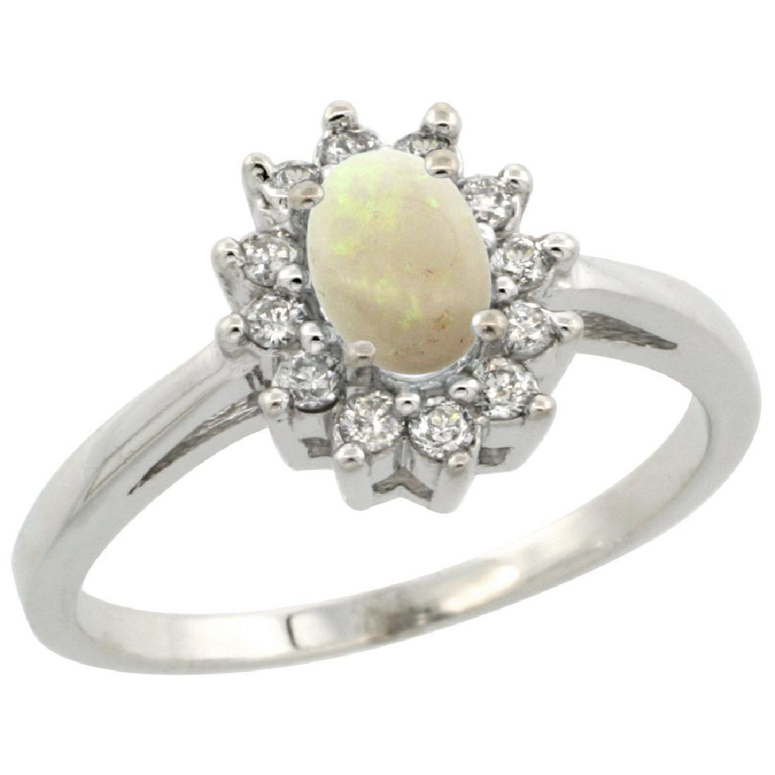 Natural 0.47 ctw Opal & Diamond Engagement Ring 14K