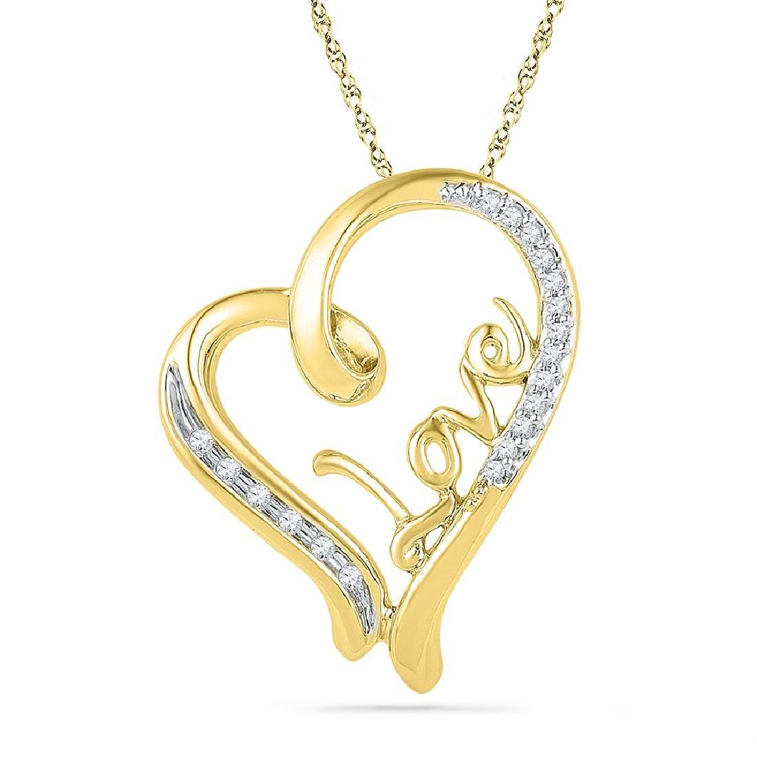 0.10 CTW Diamond Heart Love Pendant 10KT Yellow Gold -