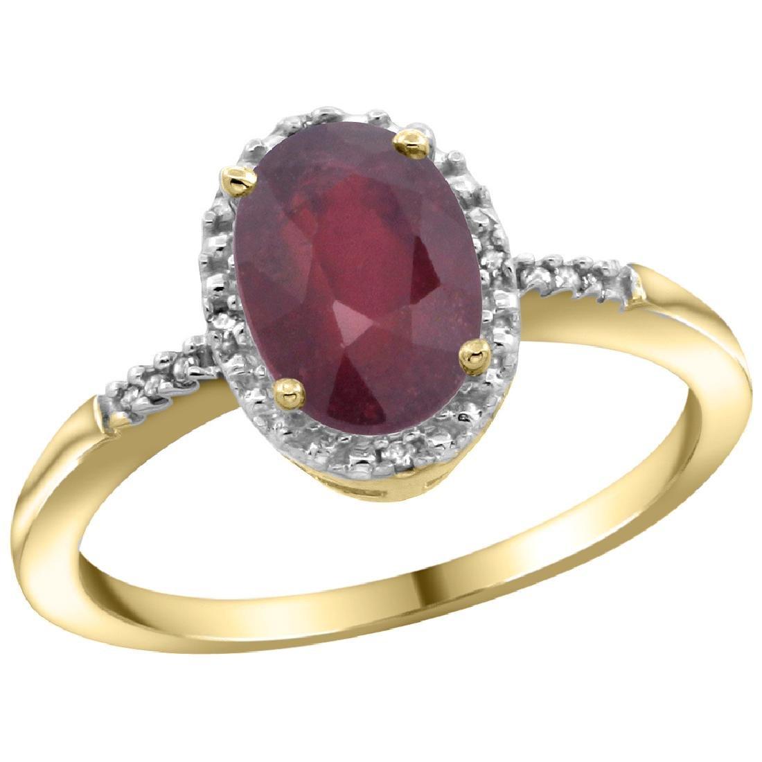 Natural 1.5 ctw Ruby & Diamond Engagement Ring 14K
