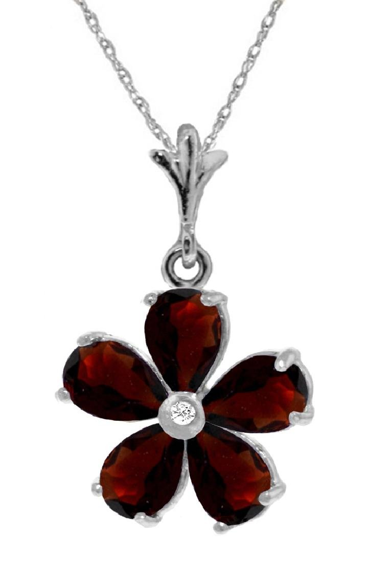 Genuine 2.22 ctw Garnet & Diamond Necklace Jewelry 14KT