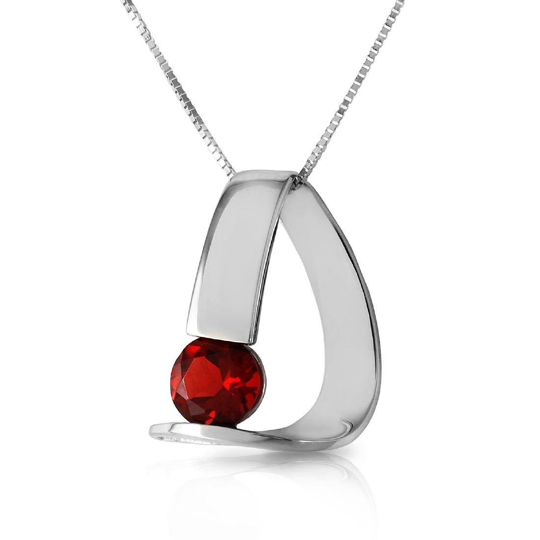 Genuine 1 ctw Garnet Necklace Jewelry 14KT White Gold -