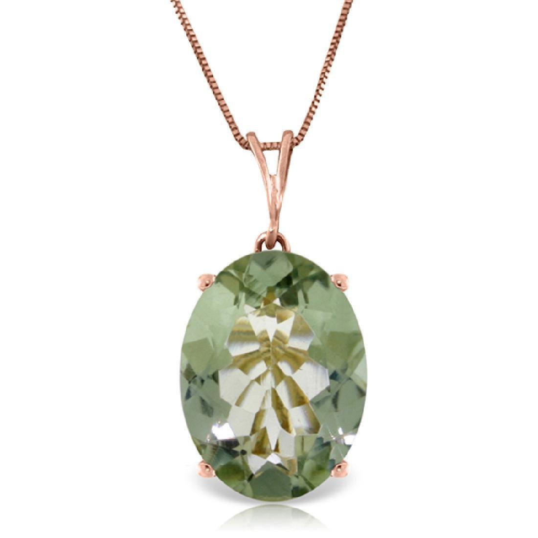 Genuine 7.55 ctw Green Amethyst Necklace Jewelry 14KT