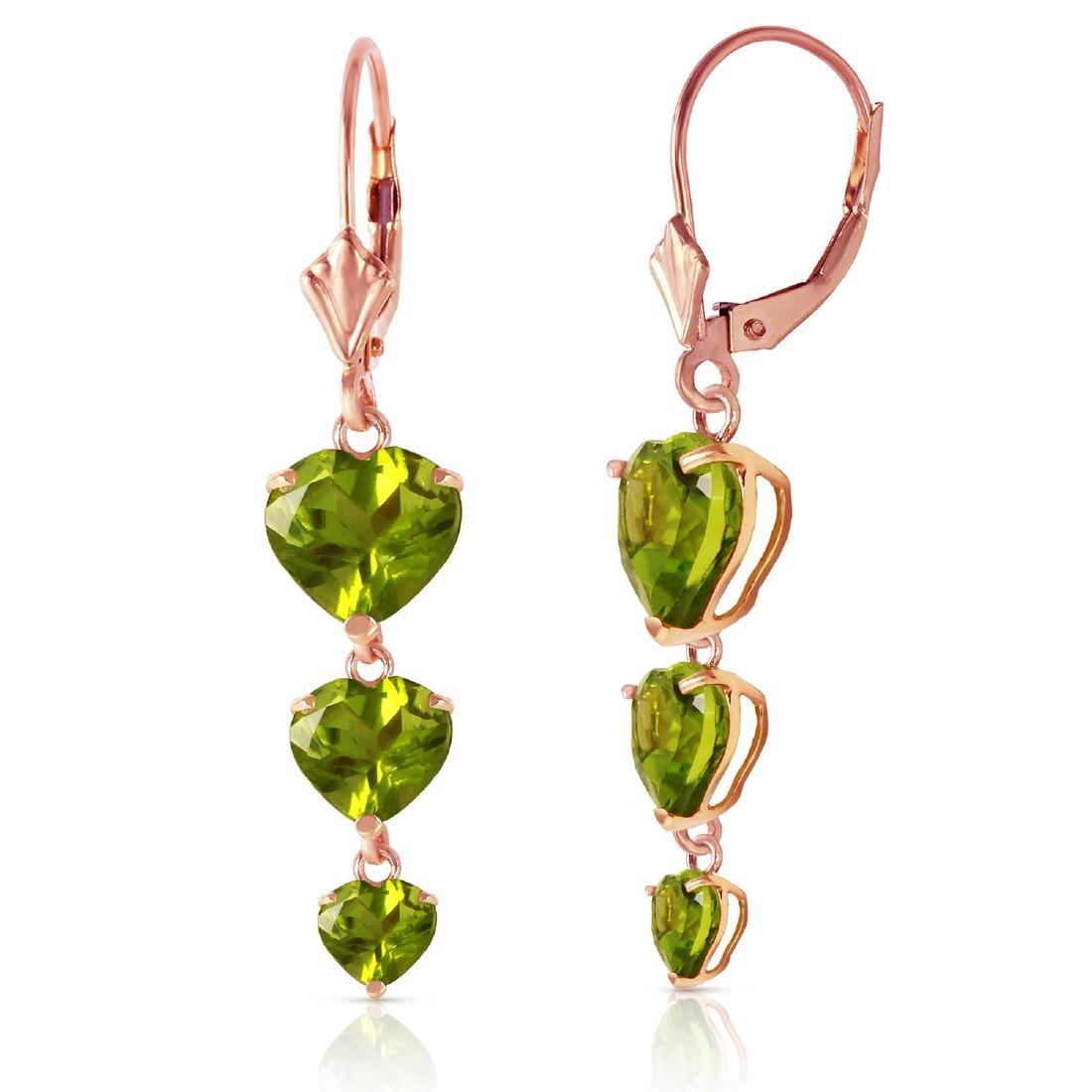 Genuine 6 ctw Peridot Earrings Jewelry 14KT Rose Gold -