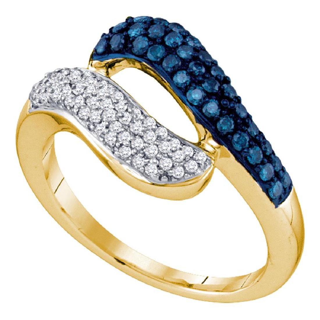 0.50 CTW Blue Color Diamond Cocktail Ring 10KT Yellow