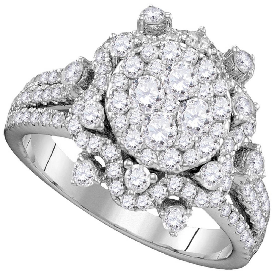 1.63 CTW Diamond Cluster Bridal Engagement Ring 14KT