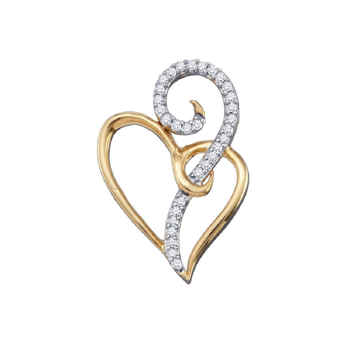 0.10 CTW Diamond Curled Double Heart Pendant 10KT