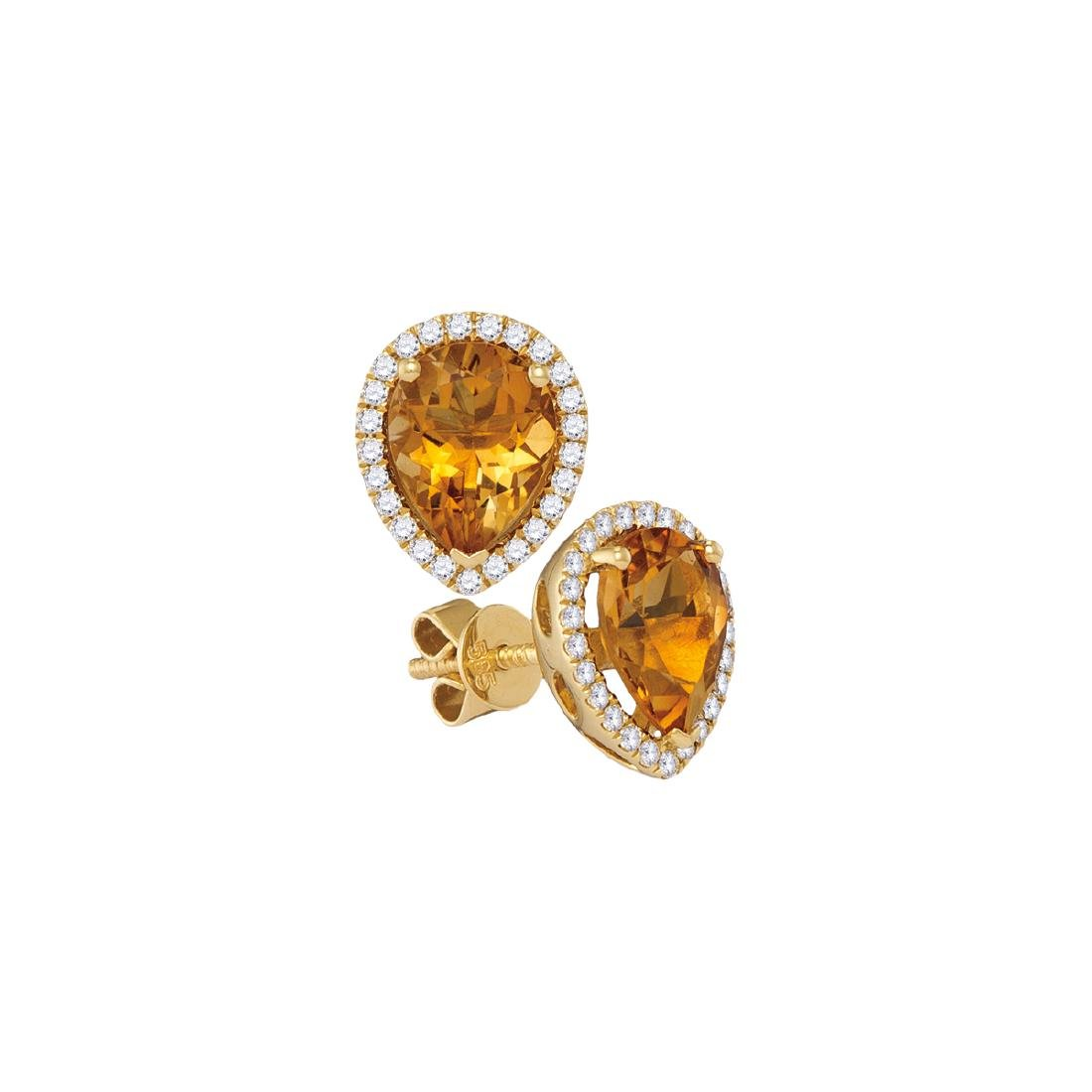 1.51 CTW Pear Citrine Solitaire Diamond Earrings 14KT