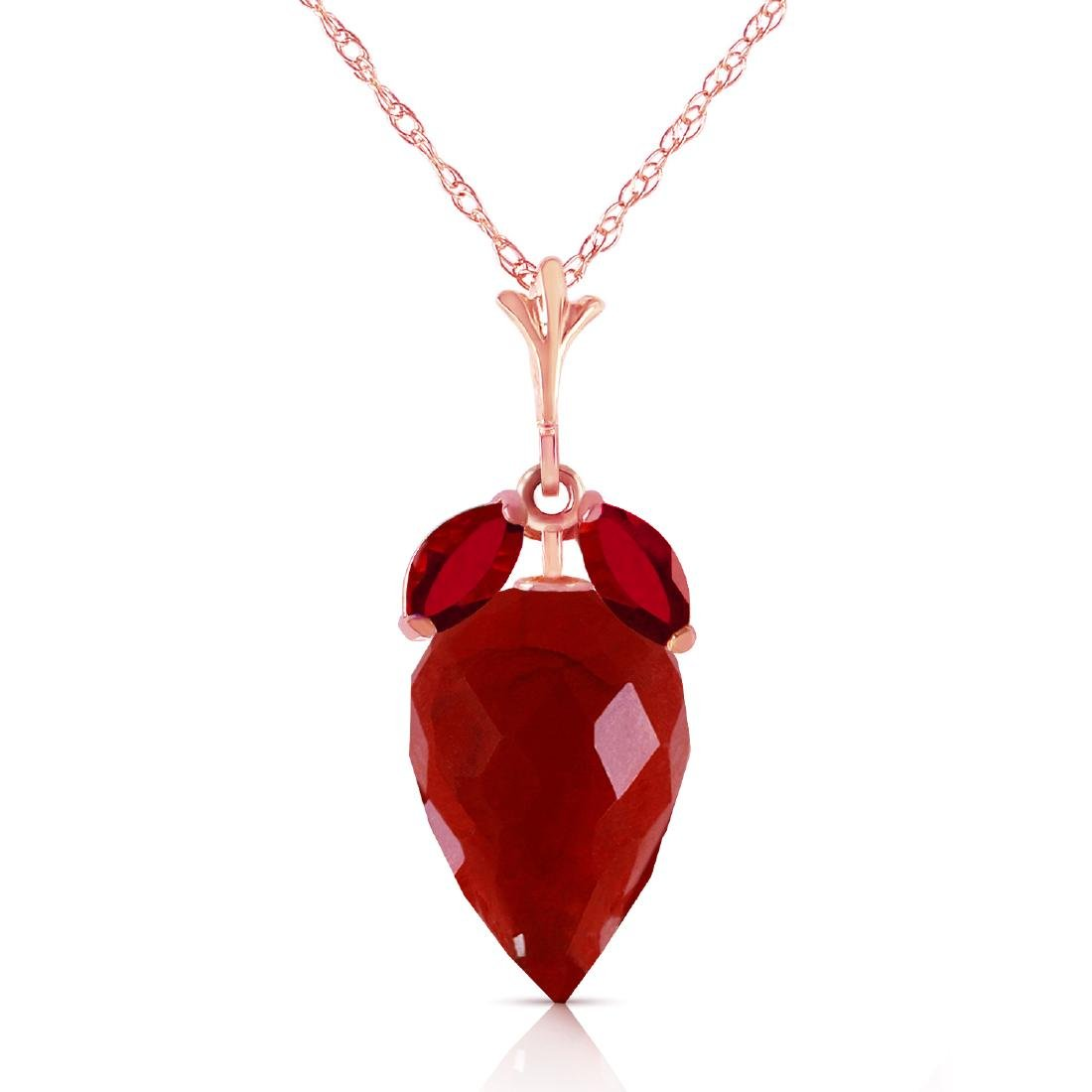 Genuine 13.5 ctw Ruby Necklace Jewelry 14KT Rose Gold -