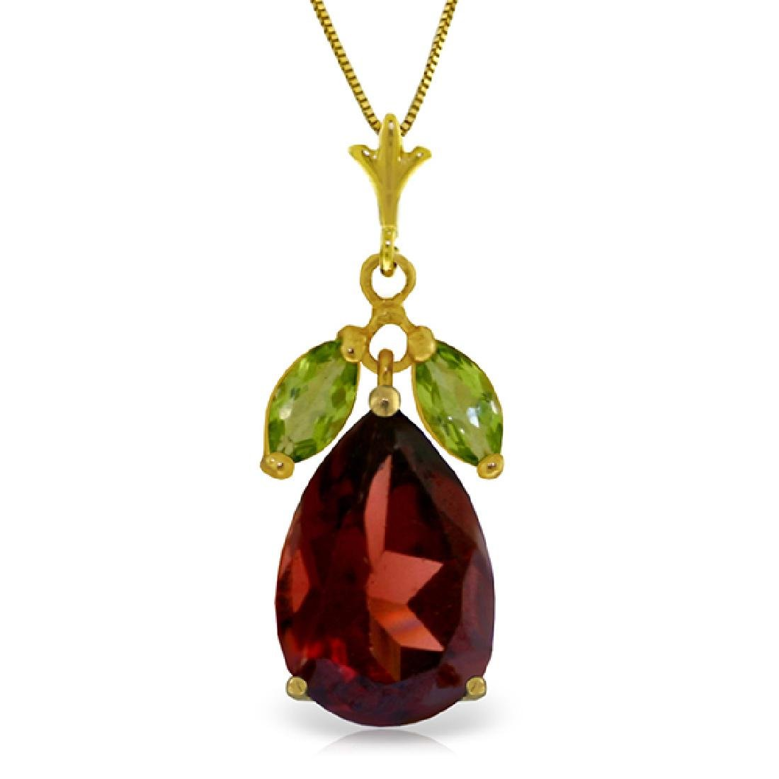 Genuine 6.5 ctw Garnet & Peridot Necklace Jewelry 14KT
