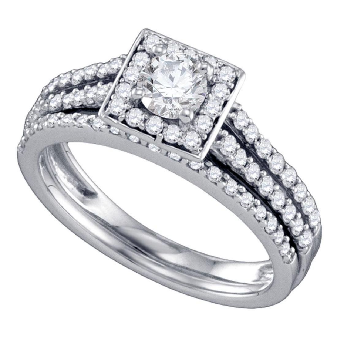 1 CTW Diamond Square Halo Bridal Engagement Ring 14KT