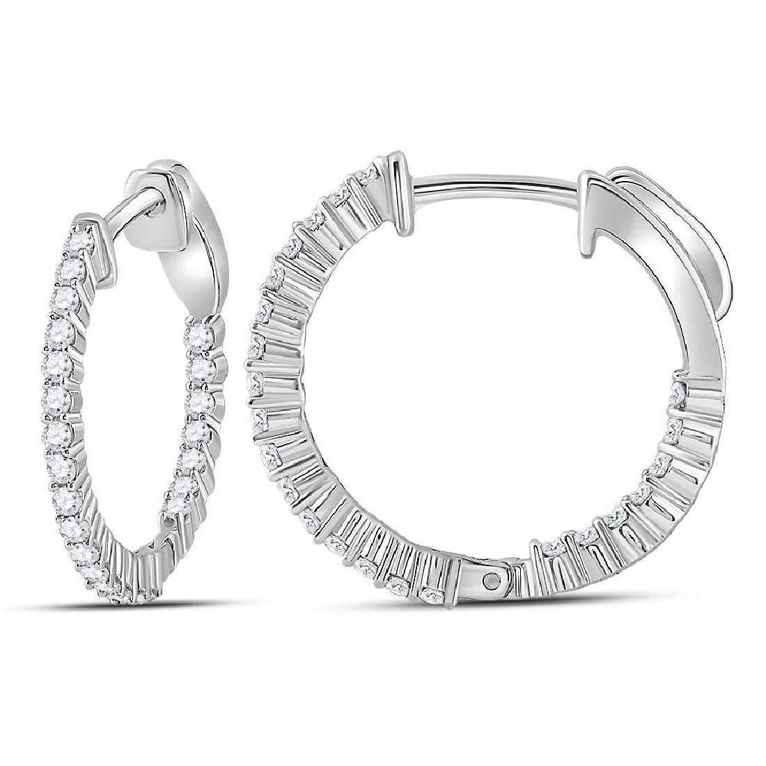 0.53 CTW Diamond Single Row Hoop Earrings 10KT White