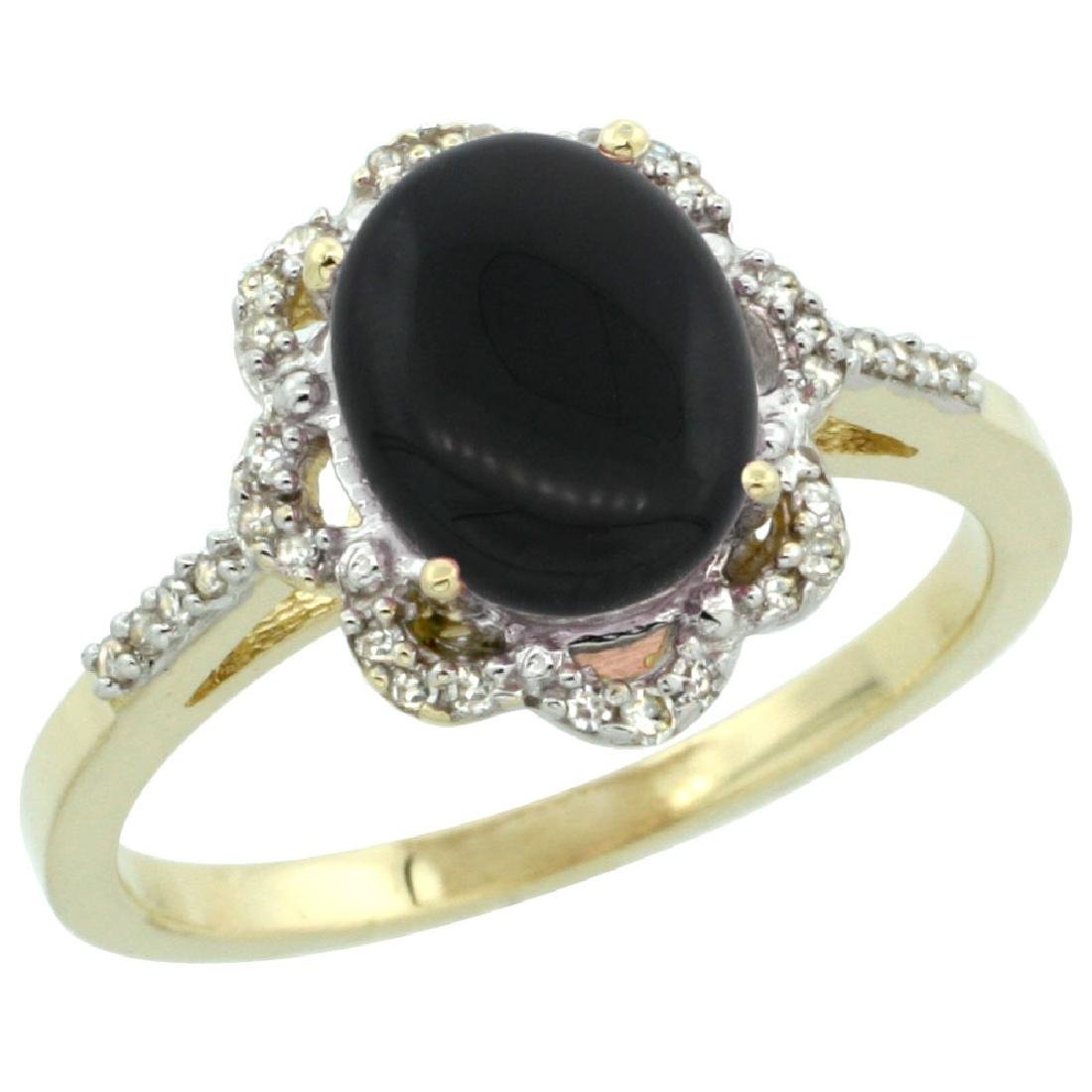 Natural 1.89 ctw Onyx & Diamond Engagement Ring 14K