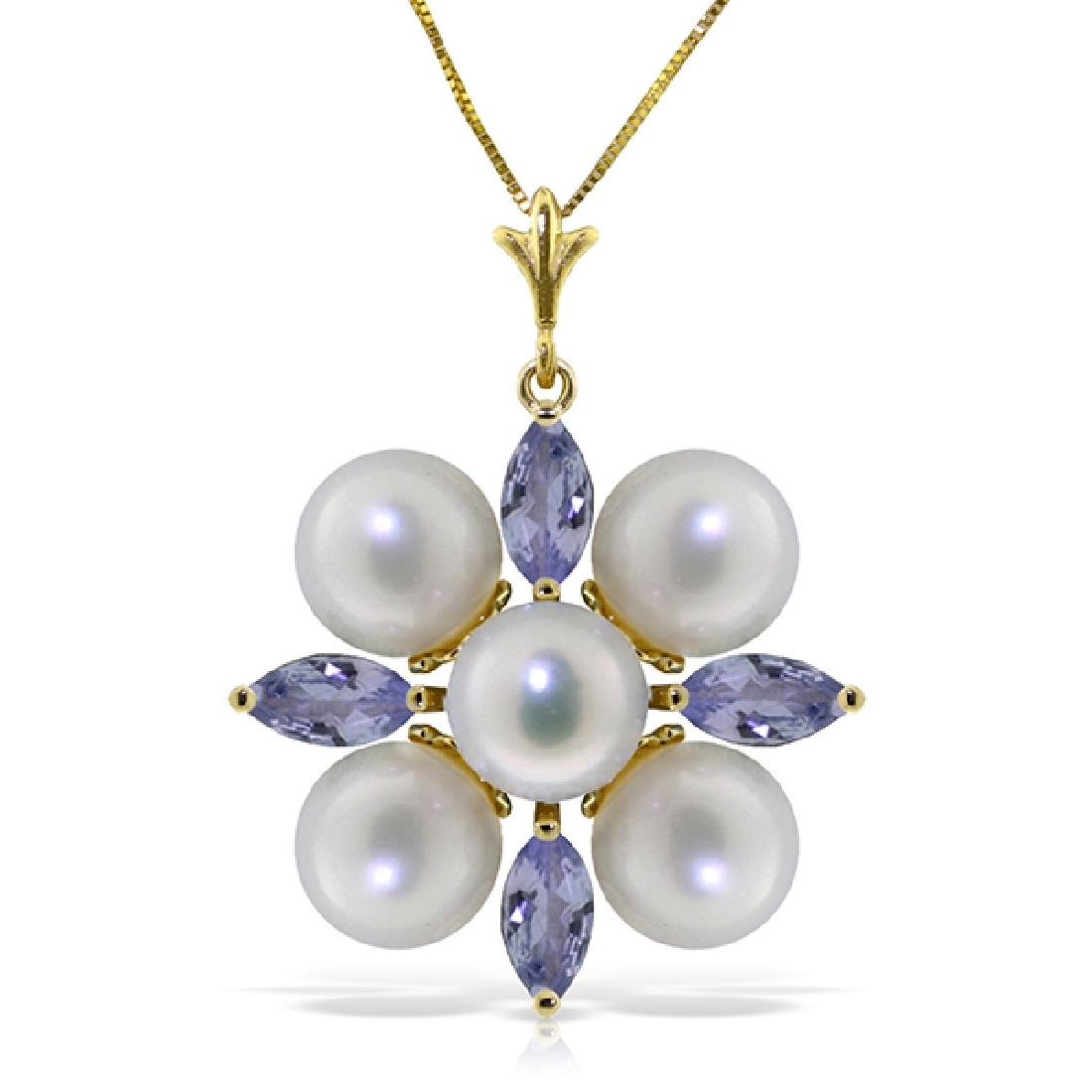 Genuine 6.3 ctw Tanzanite & Pearl Necklace Jewelry 14KT
