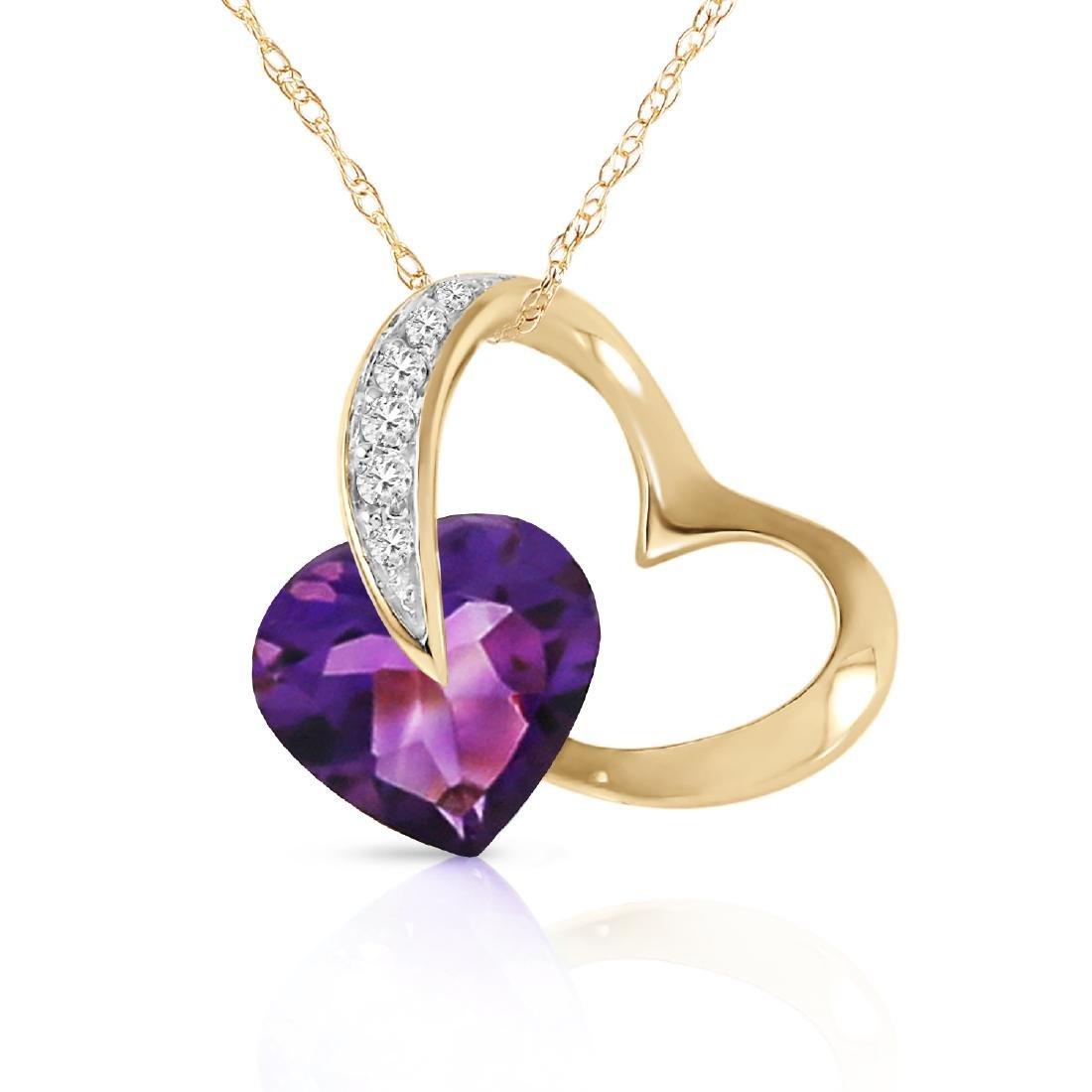 Genuine 3.2 ctw Amethyst & Diamond Necklace Jewelry